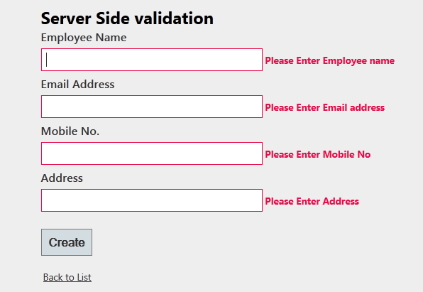 Server side validation