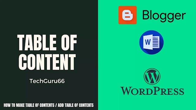 How to make Table of Contents / Add table of contents