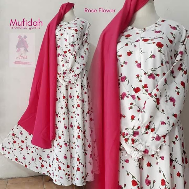 Gamis plus khimar mufidah monalisa motif rose flower warna putih