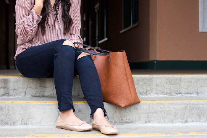 Nude Flats + Frayed Jeans + Striped Blouse