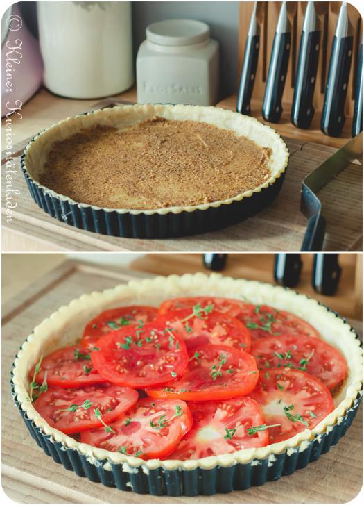 Tomatentarte mit Ziegenkäse in der Vorbereitung