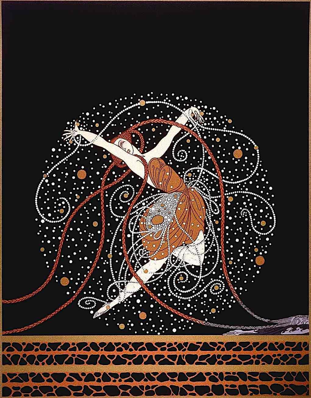 an Erté fashion illustration of a dancing woman