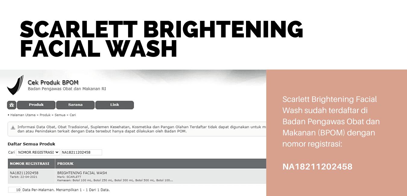 Cek BPOM Scarlett Brightening Facial Wash