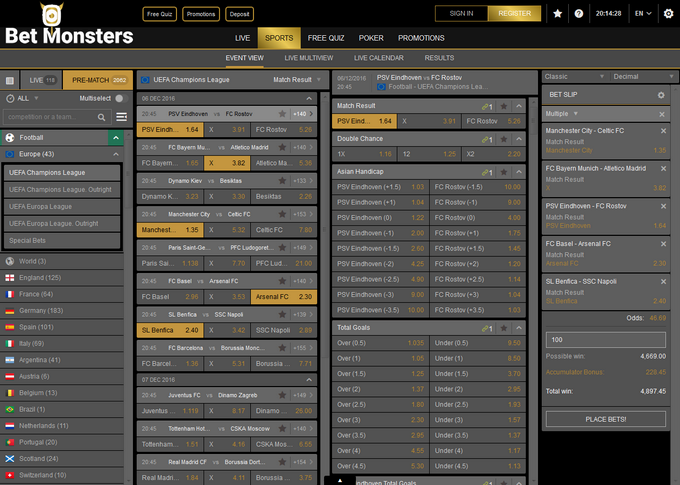 Betmonsters Screen