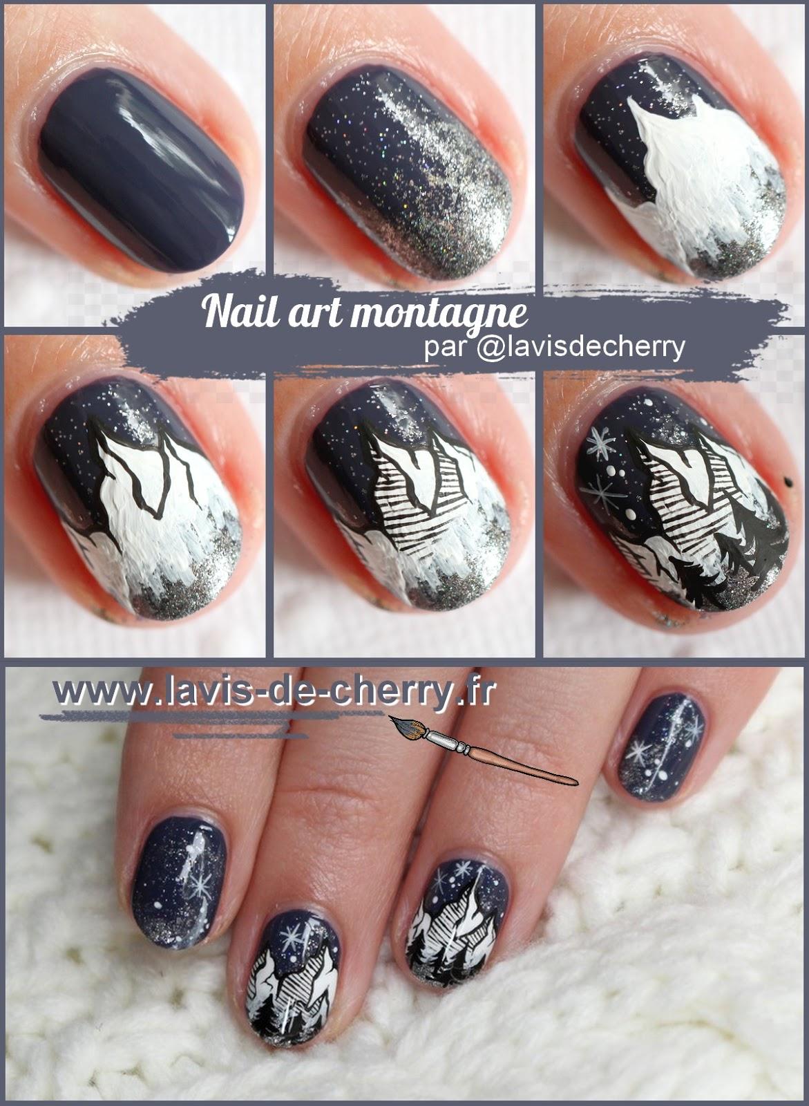 tuto-nail-art-montagne-minimaliste-nuit-étoilée-peinture-acrylique-lavisdecherry