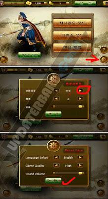 cara setting bahasa The Heroes Of Three Kingdoms APK bahasa inggris