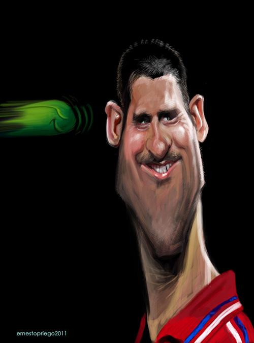"""Caricatura de """"Novak Djokovic"""" por Ernesto Priego"""