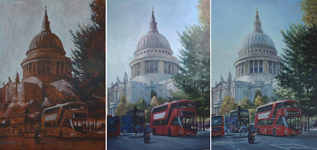 artist landscape london landmark in stages Davey