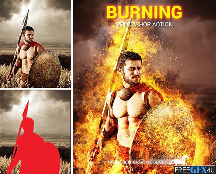Burning Photoshop Action