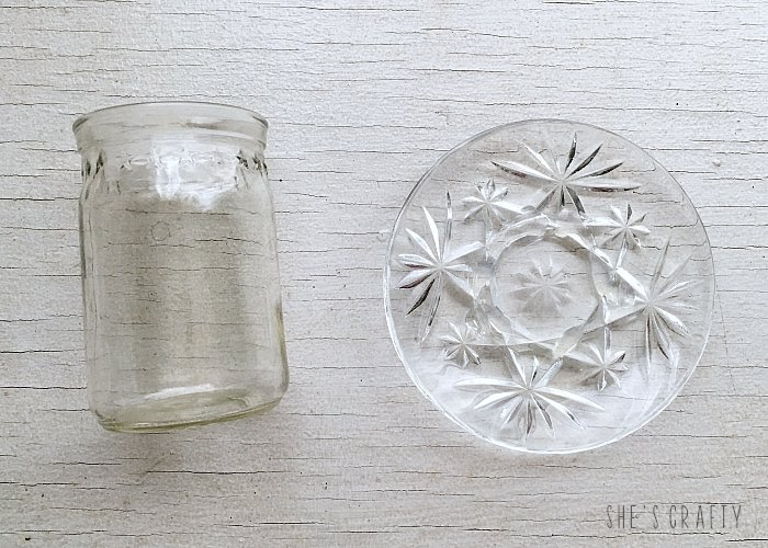 DIY candle holders and cloches from thrift store glassware candle stands, DIY cupcake stand, DIY display stand, mismatched thrift store glass pieces