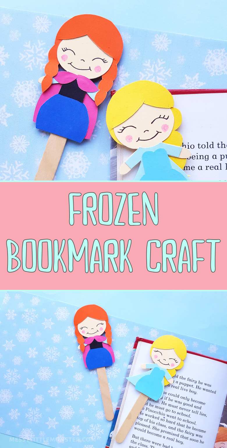 Frozen craft for kids. A fun bookmark craft that doubles up as a Anna and Elsa puppet craft. Template included.
