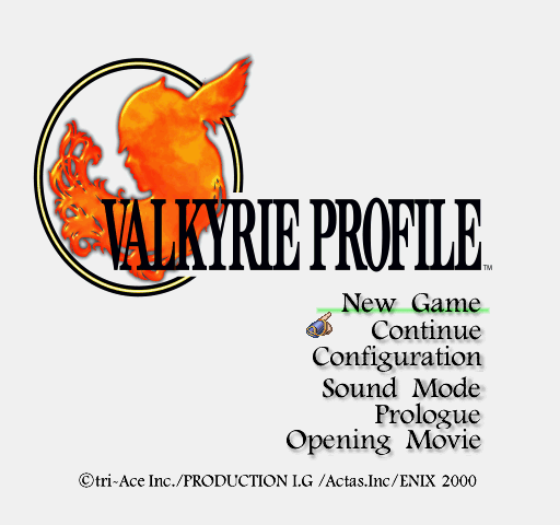 Valkyrie Profile title screen menu