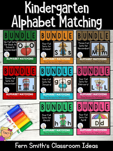 You can click on the link below to arrive at my TpT store already sorted for the grade level items you want for your class. Seasonal Alphabet Matching Centers for your Pre-K, Kindergarten, and First Grade Students. #FernSmithsClassroomIdeas