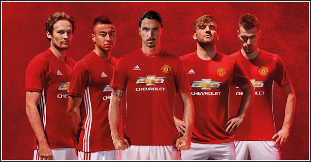 Manchester United New Home Kit 16-17 By Adidas Red