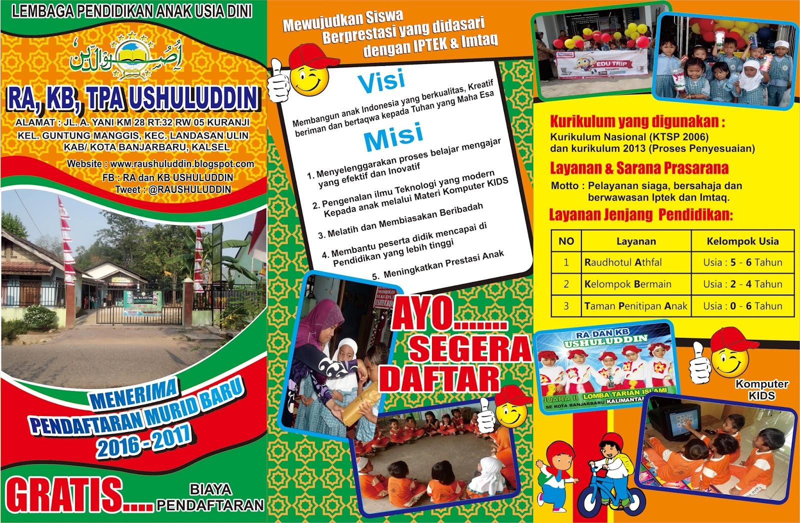 Brosur Penerimaan Peserta Didik Baru Ra Dan Kb Ushuluddin 2016 2017