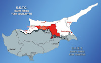 Kıbrıs haritasında Lefkoşa ilçesinin gösterimi
