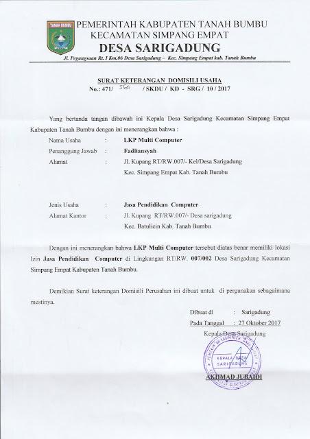 Legalitas LKPK Multi Komputer