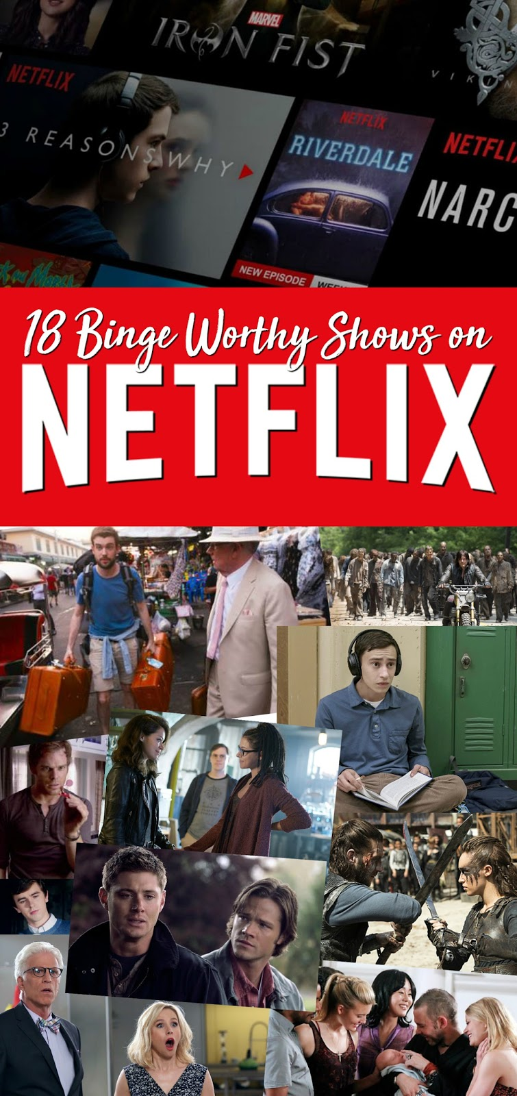Looking for the next TV series to binge watch on Netflix? Check out list of the Top 18 Binge Worthy TV Series on Netflix - including fan favorites like Supernatural, The Walking Dead, Dexter and some little known shows you will find yourself totally hooked on! Includes recommendations for Australian Netflix so no one has to miss out!