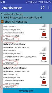 معرفة قناة بث شبكة الواى فاى عن طريق الموبايل الأندرويد