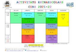 CALENDARI ACTIVITATS EXTRAESCOLARS  CURS 2020-21