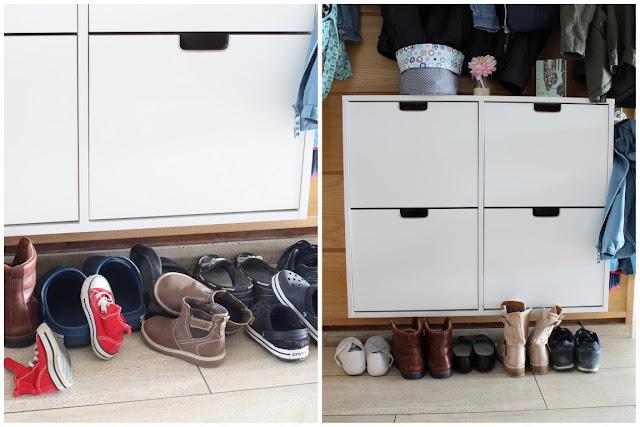 Schuhchaos Garderobe Ordnung im Flur Raumgestaltung Rattan Korb Hocker Jules kleines Freudenhaus