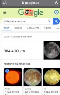 Google Recherche: encadré terre-lune