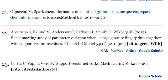 References 21-23 from the article, showing the CiTO annotation.