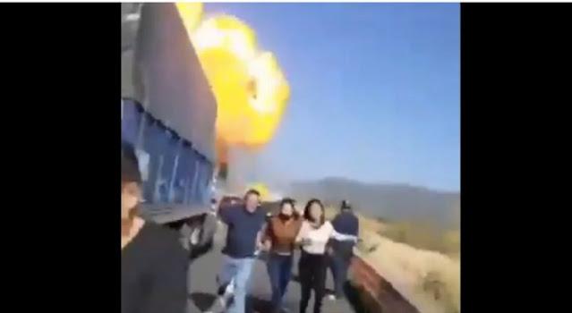 VIDEO e IMGANENES .- Así fue como Una Pipa explotó en la autopista Tepic-Guadalajara; unos hablan de 6 muertos otros de 14