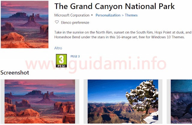 Pagina download tema The Grand Canyon National Park per Windows 10
