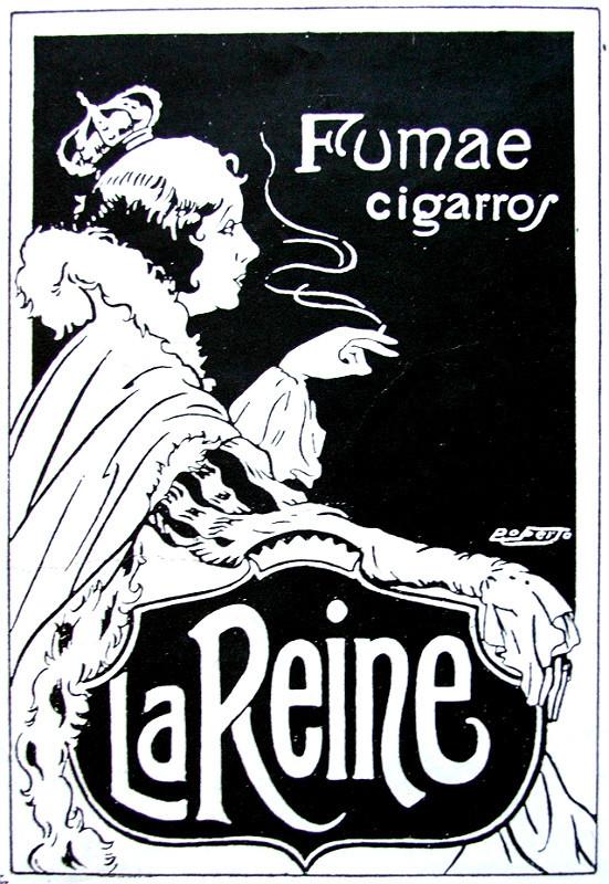 Propaganda antiga dos Cigarros La Reine em 1923