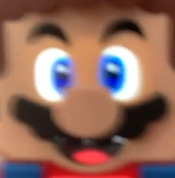 LEGO Super Mario face close-up eyes zoom