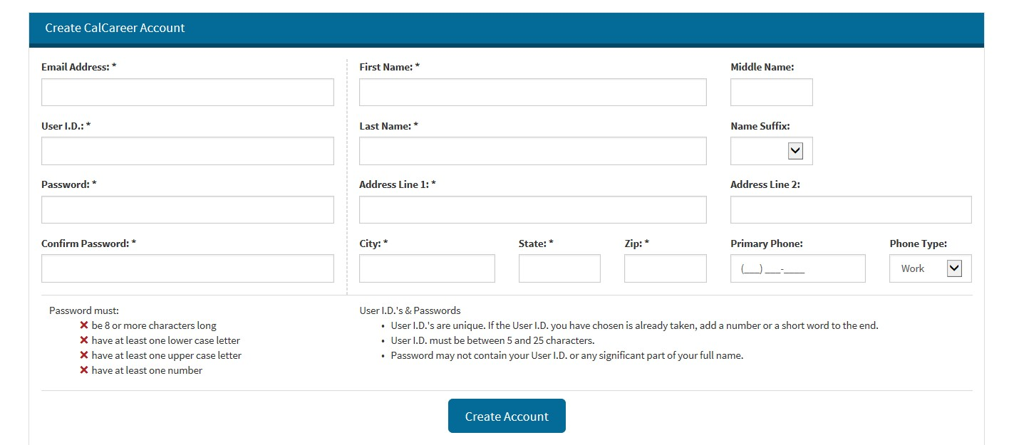 Image of the required CalCareer Account Registration Information