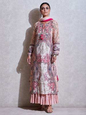 Ritu Kumar Pink Floral print chanderi suit