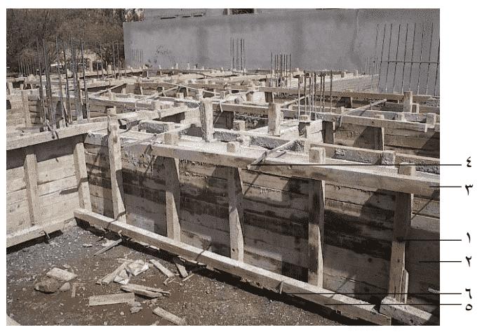 ميدة خشبية باستخدام الألواح والتقوية بالمرابيع الخشبية والقمط