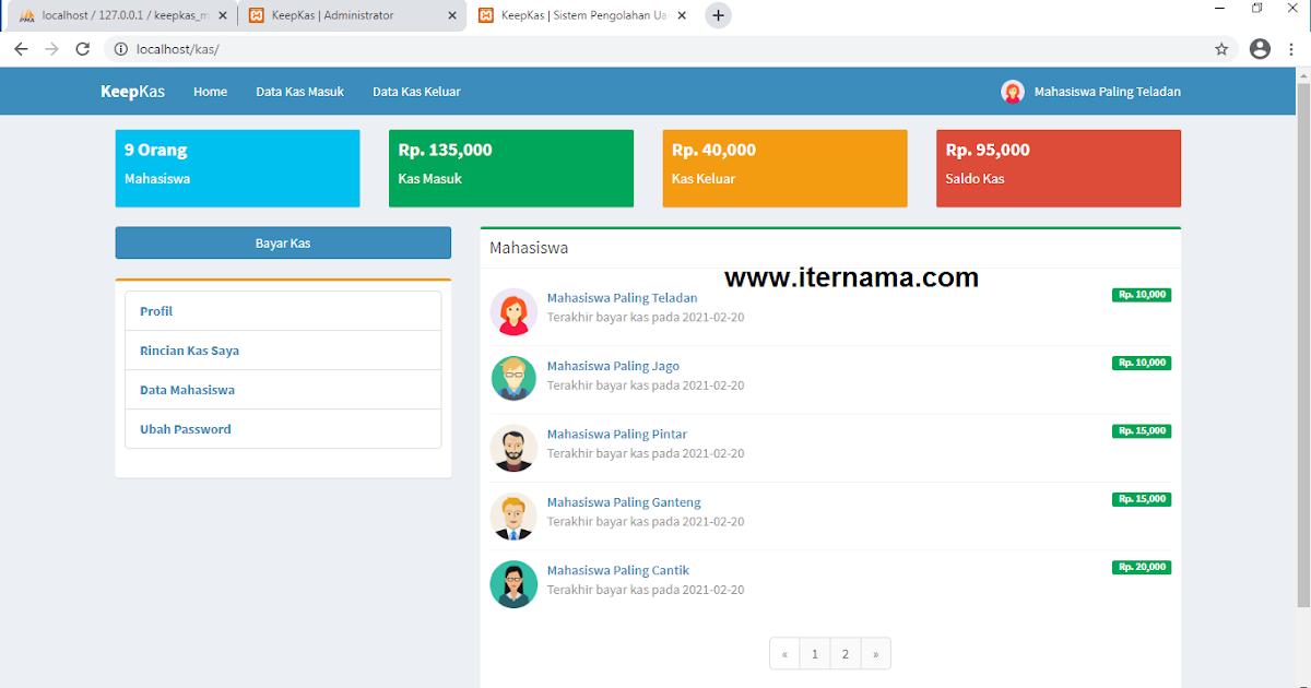 Source Code Sistem Pengelolaan Uang Kas Kelas - iTernama