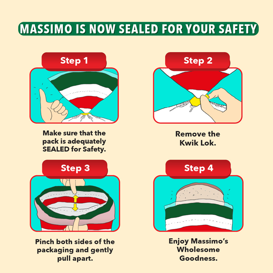 Roti Sandwic Massimo Kini Dengan Pengedap Keselamatan Tamper-Evident