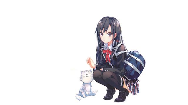 wallpaper oregairu yukino and cat