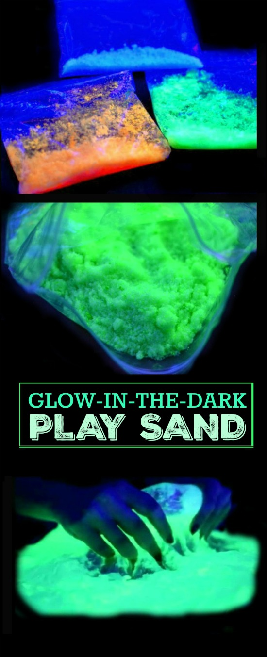 MAKE YOUR OWN GLOWING SAND.  What? This is too fun!  My kids are going to flip!