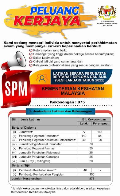 Permohonan Latihan Separa Perubatan 2021/2022 SPA9 (Sijil & Diploma)
