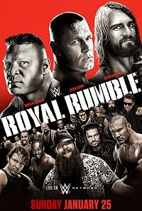 WWE - ROYAL RUMBLE 2015 - Event poster featuring Triple Threat match between John Cena, Seth Rollins and Brock Lesnar