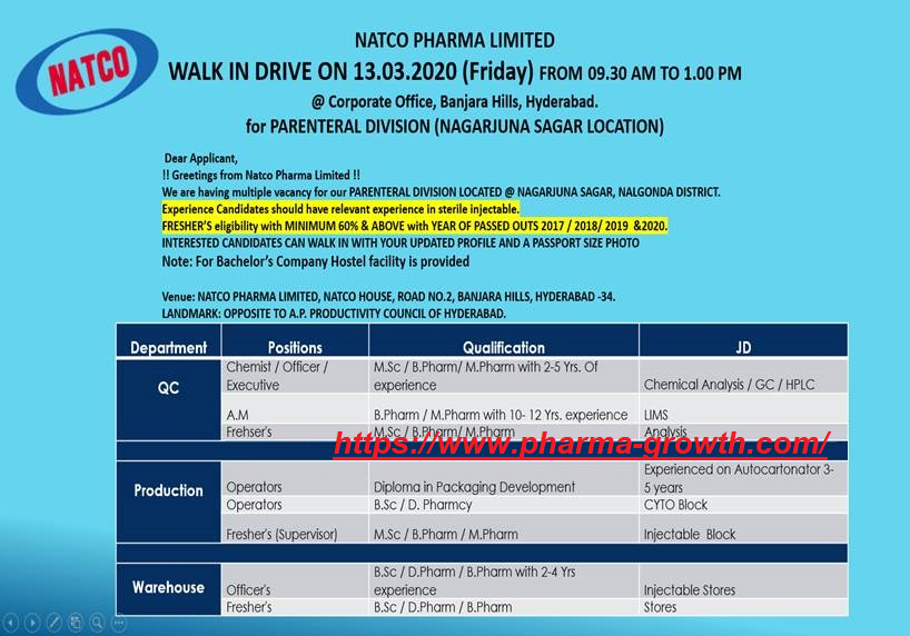 Natco Pharma Limited - Walk-Ins for Freshers & Experience - Multiple Positions in QC   Production   Warehouse on 13th Mar' 2020