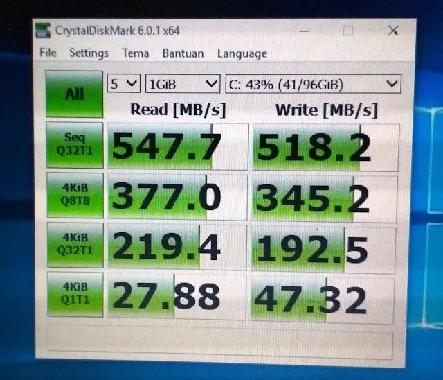 Uji coba SSD EVO 860 menggunakan Aplikasi CrystalDiskMark