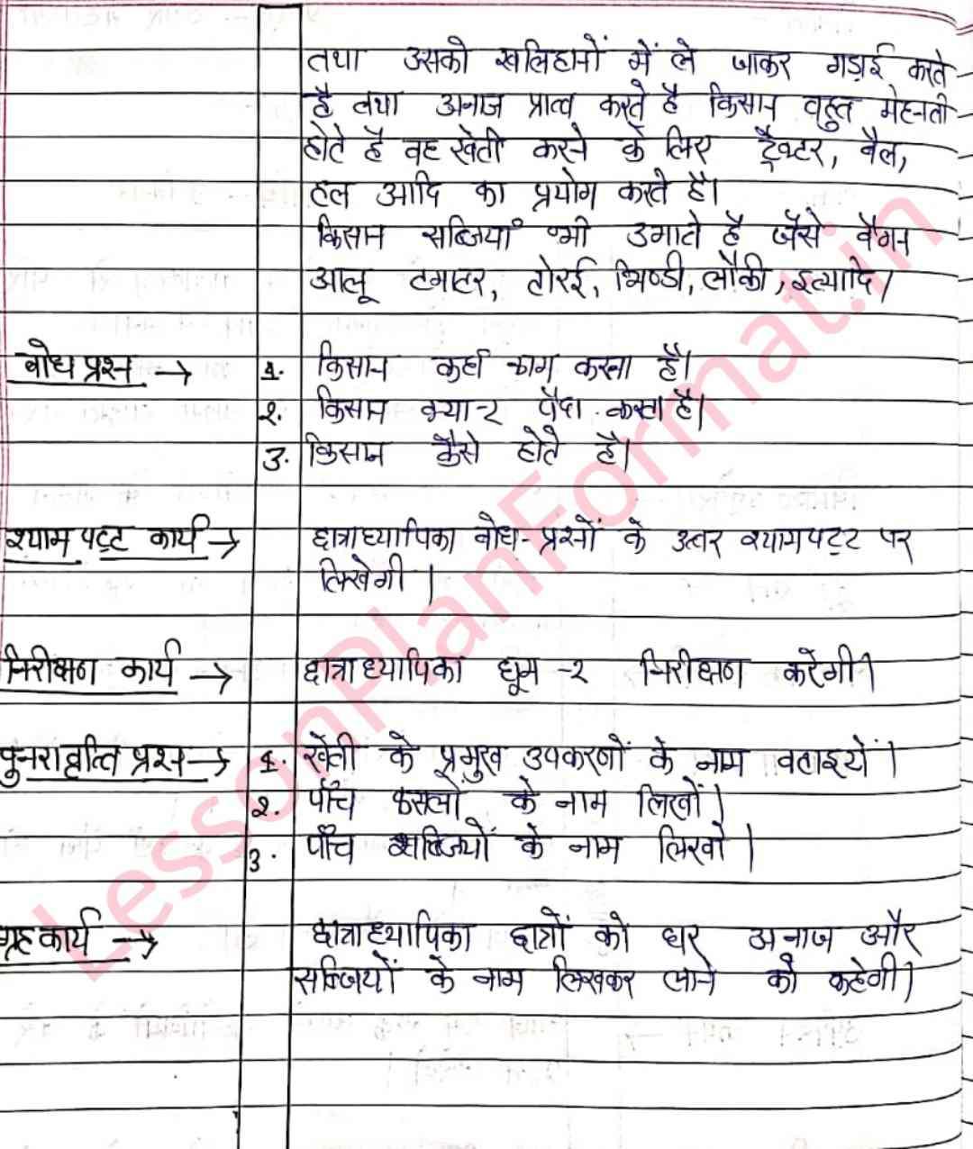 Hindi Lesson Plan Humare Sahyogi II