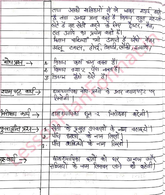 Hindi Lesson Plan Humare Sahyogi II