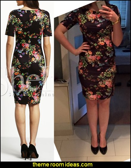 Short Sleeve Floral Print Sheath Dress