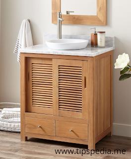 teak bathroom cabinet