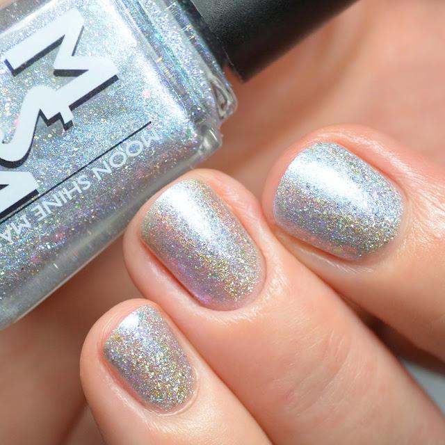 diamond colored holographic nail polish swatch