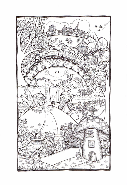 pen and ink memory doodle drawing picture of the Wirral Pensula, West Kirby, Thornton Hough, Raby Mere, The promenade and a mermaid, Hilbre Island and grey seals, rowing boat rides and ice cream from Totteys