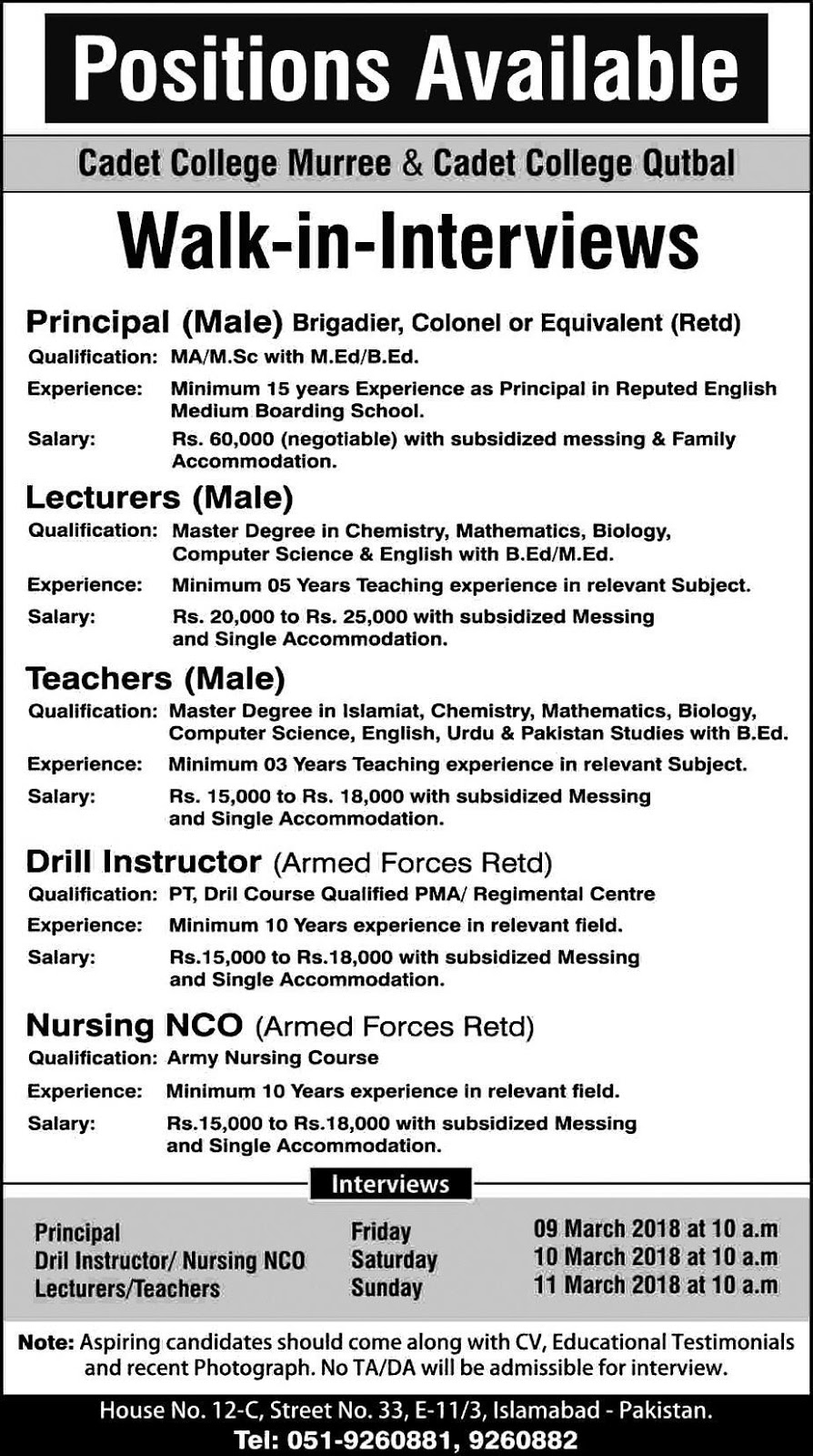 Principals,Lecturers Teachers, Nursing NCO Jobs in Murree