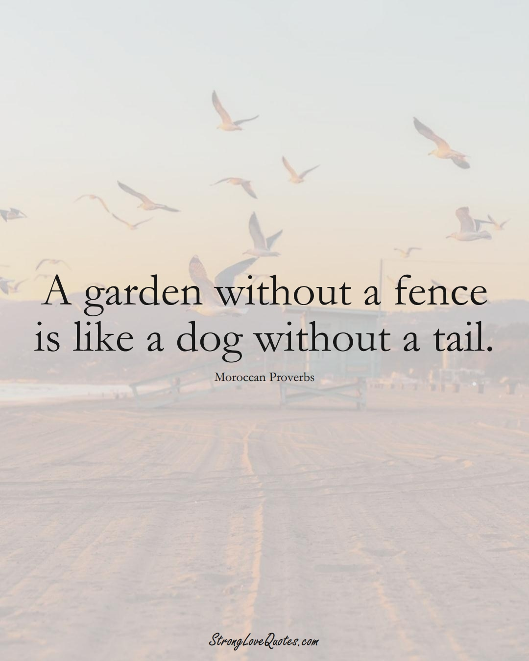 A garden without a fence is like a dog without a tail. (Moroccan Sayings);  #AfricanSayings
